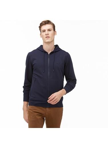 Lacoste Erkek Kapüşonlu Fermuarlı Sweatshirt SH2062.62L Lacivert